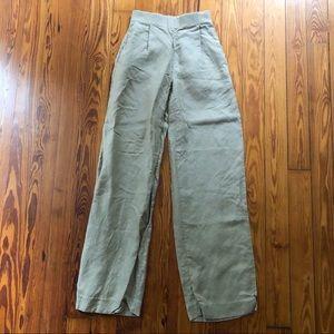 J. Crew high waist linen blend khaki trousers 000